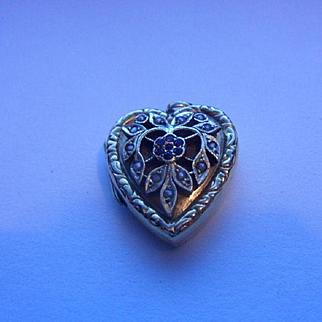 Exquisite Vintage Natural Seed Pearl & Garnet Set HM 9ct Gold Heart Photo Locket
