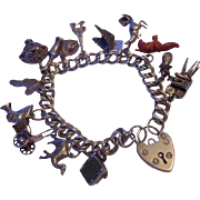 Great Vintage English Sterling Silver 1970's Loaded Charm Bracelet with Padlock