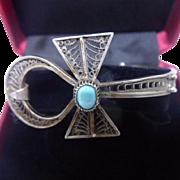 Unusual Vintage Egyptian Filigree 900 Silver & Turquoise Ankh Bangle