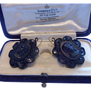 Stunning Antique Victorian French Jet Mourning Cameo Earrings