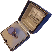 Scarce Antique Victorian 9ct Rose Gold Man's Sardonyx Agate Seal Ring & Antique Leather Box