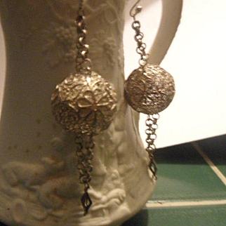 Intricate Antique 19th Century 900 Silver Filigree Dangling Drop Earrings
