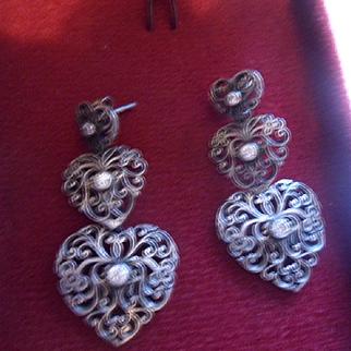 Enchanting Vintage Graduated Hearts Dangling Drop Sterling Silver Earrings