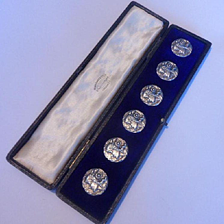 Incredible Cased Set of 6 Antique Art Nouveau Hallmarked Silver Buttons