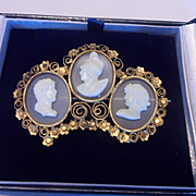 Spectacular Antique Georgian Triple Hardstone Cameos in 22ct Cannetille Gold Mount Pin