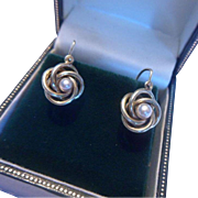 Elegant Antique French 18ct Gold and Cultured Pearl Dormeuses Earrings - Red Tag Sale Item