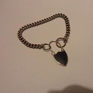 Antique Sterling Silver Bracelet and Georgian Style Scottish Agate Padlock