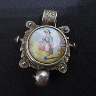 Pretty Antique Continental 900 Silver , Porcelain Portrait Chatelaine Clip / Pendant
