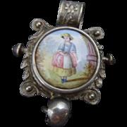 Pretty Antique Continental 900 Silver , Porcelain Portrait Chatelaine Clip / Pendant