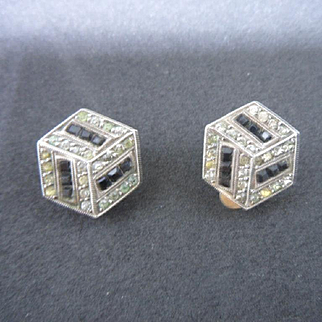 Vintage 1930's Art Deco Sterling Silver and Paste Geometric Clip Earrings