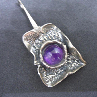 Unique Massive Modernist Sterling Silver and Amethyst Glass Pendant
