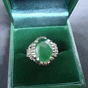 Vintage Modernist Designer Sterling Silver and Green Chrysoprase Cocktail Ring