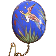 Unique Antique Art Nouveau Pictorial Champleve Enamel and 9ct Rose Gold Brooch Pin