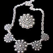 Etruscan Revival Vintage Sterling Silver Demi Parure Fringe Necklace and Brooch / Pendant