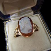 Premier Antique Edwardian English 9ct Rose Gold Sardonyx Agate Goddess Juno Cameo Ring