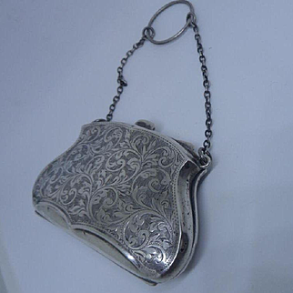 Antique Art Nouveau English Hallmarked Sterling Silver Chatelaine Finger Purse
