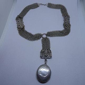 Rare Antique Victorian 900 Silver Mesh Book Chain and Locket