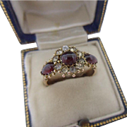 Fancy Antique Victorian 9ct Rose Gold,Cabochon Garnet and White Paste Ring