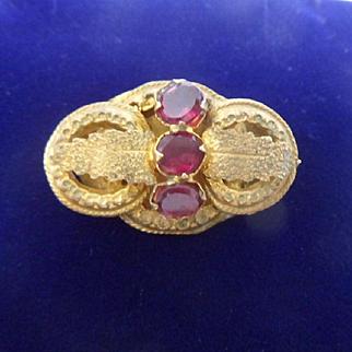Gorgeous Antique Georgian Almandine Garnet Small 15ct Gold Brooch