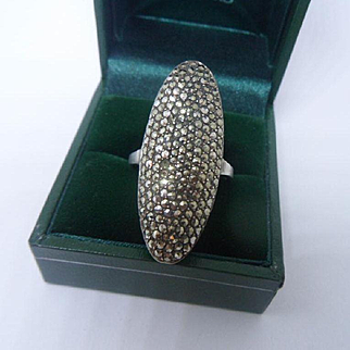 Fabulously Massive 1930's Art Deco 935 Silver and Pave Marcasite Cocktail Ring