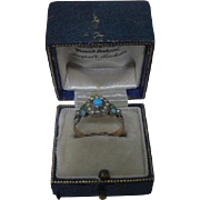 Gorgeous Antique Victorian 9ct Rose Gold,Turquoise and Seed Pearl Cluster Ring C1850