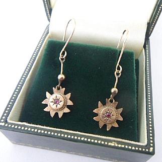 Dainty Antique Edwardian 9ct Rose Gold and Garnet Dangling Drop Earrings