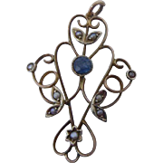 Pristine Antique Edwardian 9ct Rose Gold,Blue Sapphire and Natural Seed Pearl Pendant