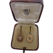 FURTHER REDUCTION! Delicious Antique Edwardian 9ct Rose Gold Back & Front & Paste Drop Earrings