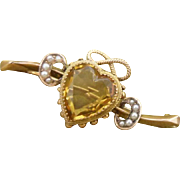 Exquisite Antique Victorian Hallmarked 9ct Gold Citrine Heart and Seed Pearl Brooch Pin