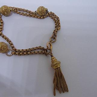 Bright Antique Victorian Pinchbeck Albertina Chain Bracelet with Tassel
