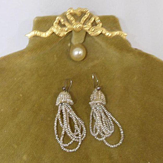 Delicate Antique Georgian Dangling Drop Micro Seed Pearl Tassel Bridal Earrings