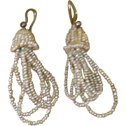 Delicate Antique Georgian Dangling Drop Micro Seed Pearl Tassel Bridal Earrings