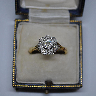 Sparkling Antique Edwardian Old European Cut Diamond and 18ct Gold Halo Cluster Ring