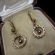 Sweet Antique Edwardian 9ct Rose Gold Drop Earrings