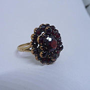 Berry Rich Antique Victorian Bohemian Garnet 9ct Rose Gold Cocktail Ring