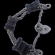 Antique Victorian Scottish Carved Banded Agate and Silver Bracelet