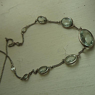 Classy Vintage Art Deco Palest Blue Aquamarine and 18ct White Gold Princess Necklace