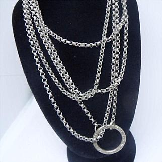 "Versatile Antique Edwardian Long Guard / Watch Chain Continental 800 Silver. 56"""