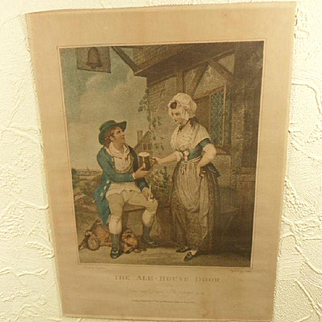 """Charming Antique English Regency Coloured Engraving Print """"The Ale-House Door"""" 1 of 2"""