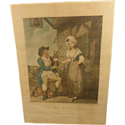"Charming Antique English Regency Coloured Engraving Print ""The Ale-House Door"" 1 of 2"