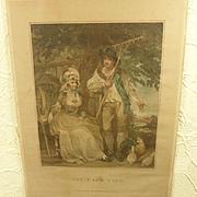 "Charming Antique English Regency Coloured Engraving Print ""The Farm-Yard"" 2 of 2"