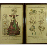 Fantastic Pair of Antique 19th Century French Fashion Millinery Engraved Prints.