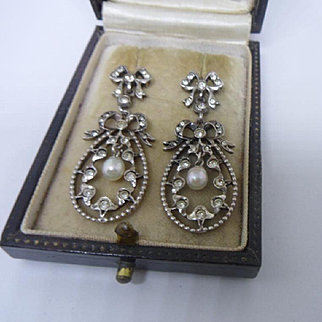 Supreme Antique Edwardian Silver,9ct Gold and Paste Long Drop Earrings with Natural Pearl Tremblers