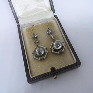 Scarce Antique Georgian Black Dot Paste Double Drop Dangling Hook Earrings
