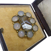 Stunning Antique Georgian Moonstone and Banded Agate Large Gilt Brooch Pin