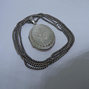 Sought After Antique Victorian Hallmarked Silver Locket and Half Long Guard Chain