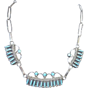 Pretty Zuni Petit Point Turquoise and 900 Silver Necklace