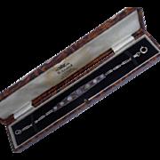 Delicious 1920's  Art Deco Moonstone and Pink Sapphire Graduated Line Bracelet