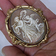Excellent Huge Antique Early Victorian Shell Cameo of Terpsichore and Cupid.Pendant/Brooch