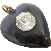 Simple Antique Victorian Whitby Jet and White Paste Loveheart Pendant